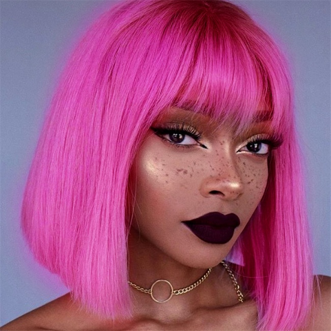 Pink Straight bob wigs